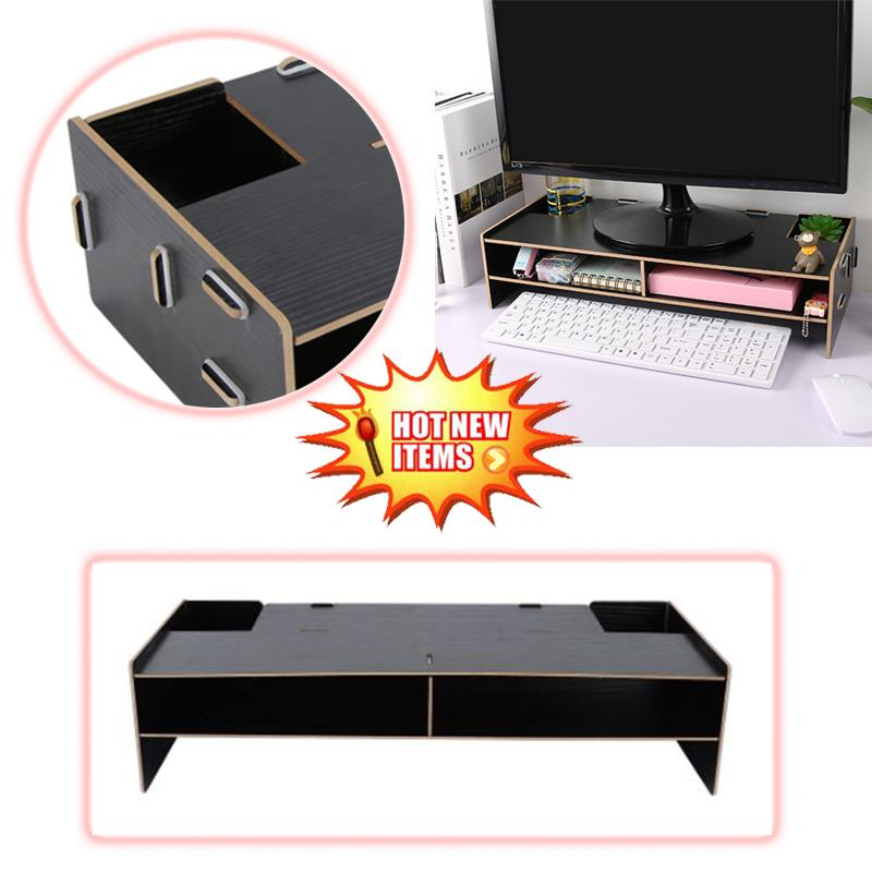 Desktop Monitor Riser TV Stand Desk Organizer Storage Box For Computer Laptop
