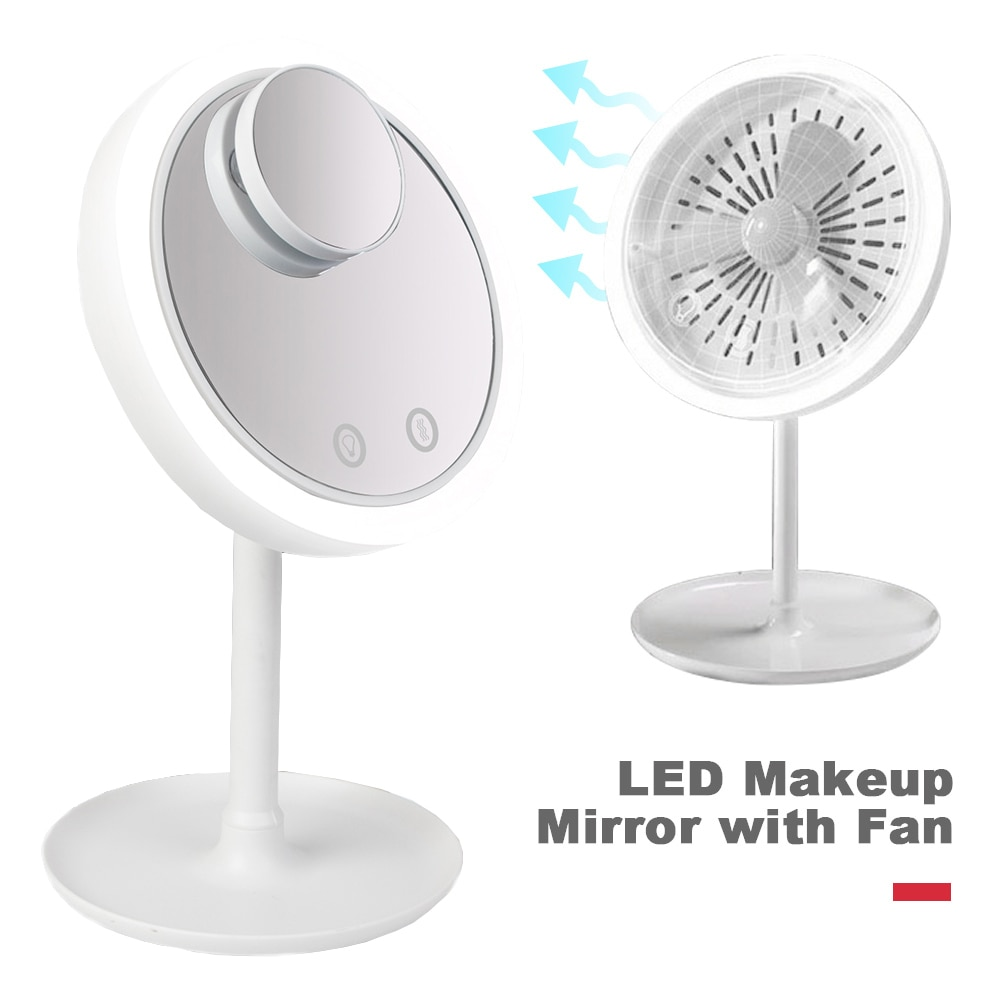 3 In 1 Makeup Vanity Mirror With Fan And Led Lights Cosmetic Mirror With Light Stand And Fan Cosmetic Beauty Compact Mirror With Stand And Led Desktop Lamp With Rechargeable Led Lights