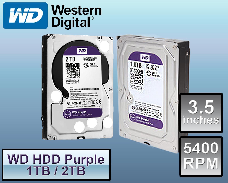WD western Purple 1TB hdd/ 2TB hdd Surveillance Hard Disk Drive - 5400 RPM  Class SATA 6Gb/s 64MB Cache 3 5 Inch WD20PURX / WD10PURX