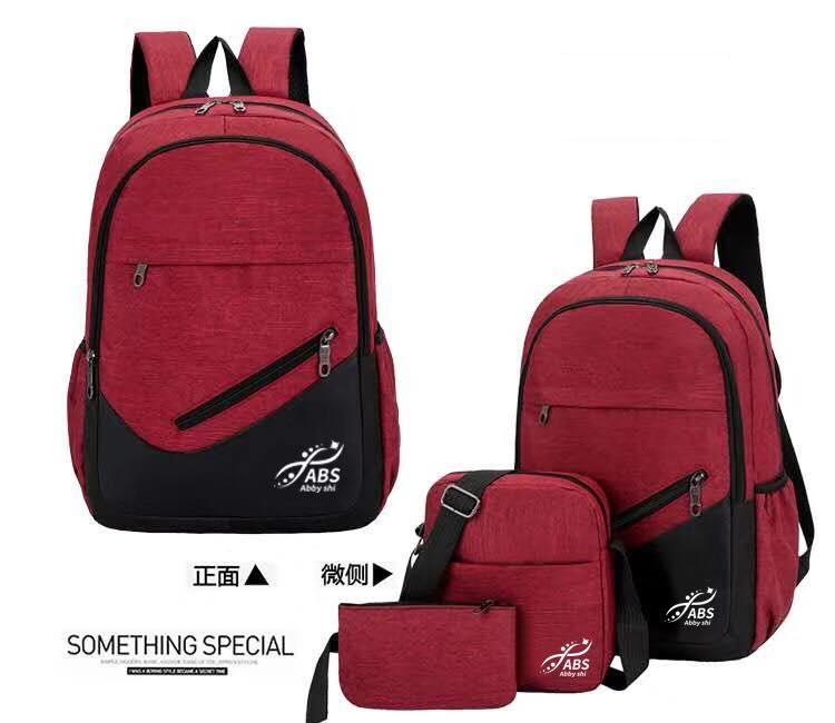 Abby Shi 1052 3 In 1 New Fashion Bag Light Weight Leisure Collage Style Nylon Women Backpack Set By Abbyshi.