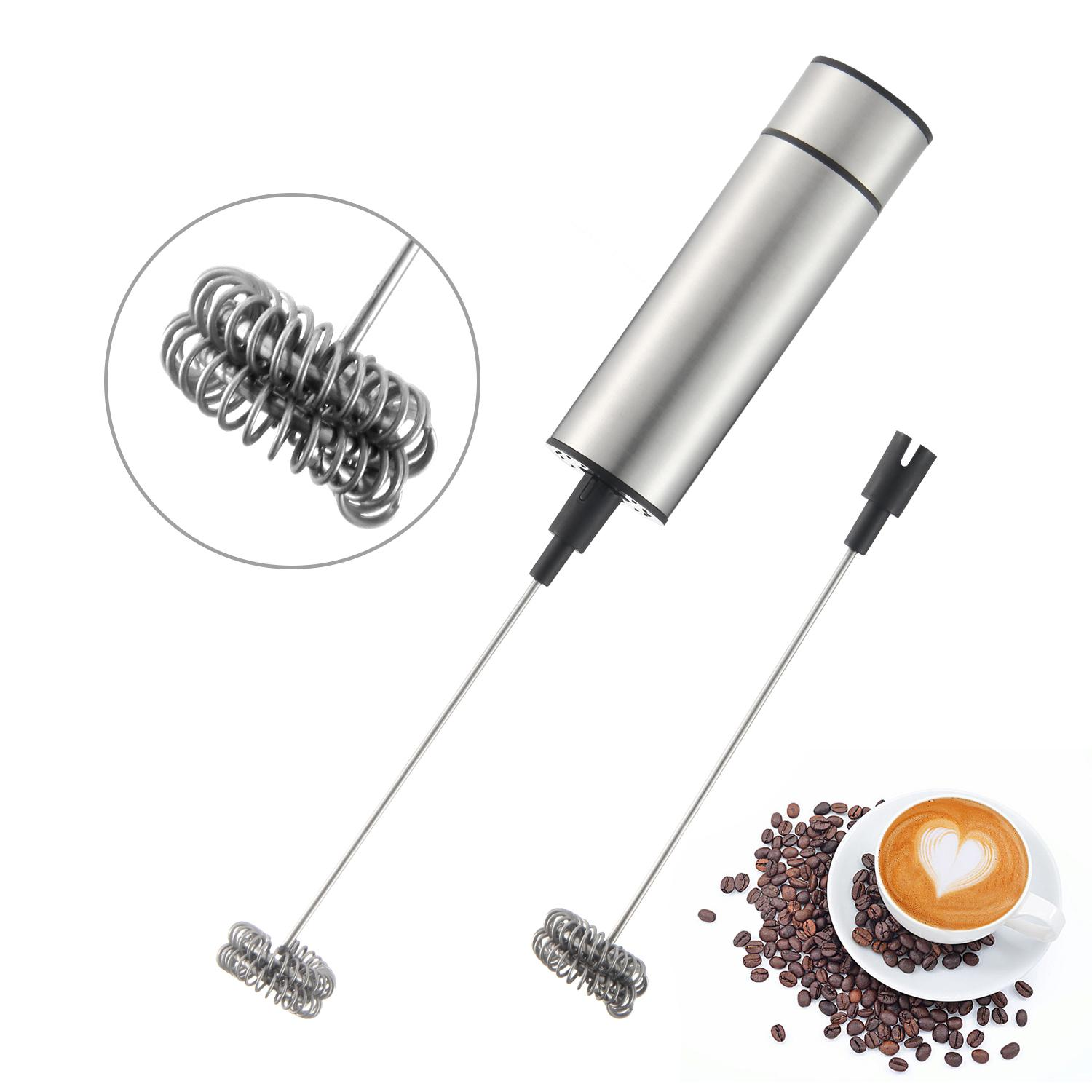 Outflety Milk Frother Handheld Electric Foam Maker, Powerful Drink Mixer With Two Detachable Double Spring Whisk Head For Kitchen,coffee Shop By Outflety.