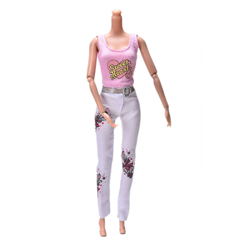 Summer 2 Pcs/Set Pink Vest Suit For Barbie Dolls Fashion White Pants Printed Doll Cloth Đang Có Giảm Giá