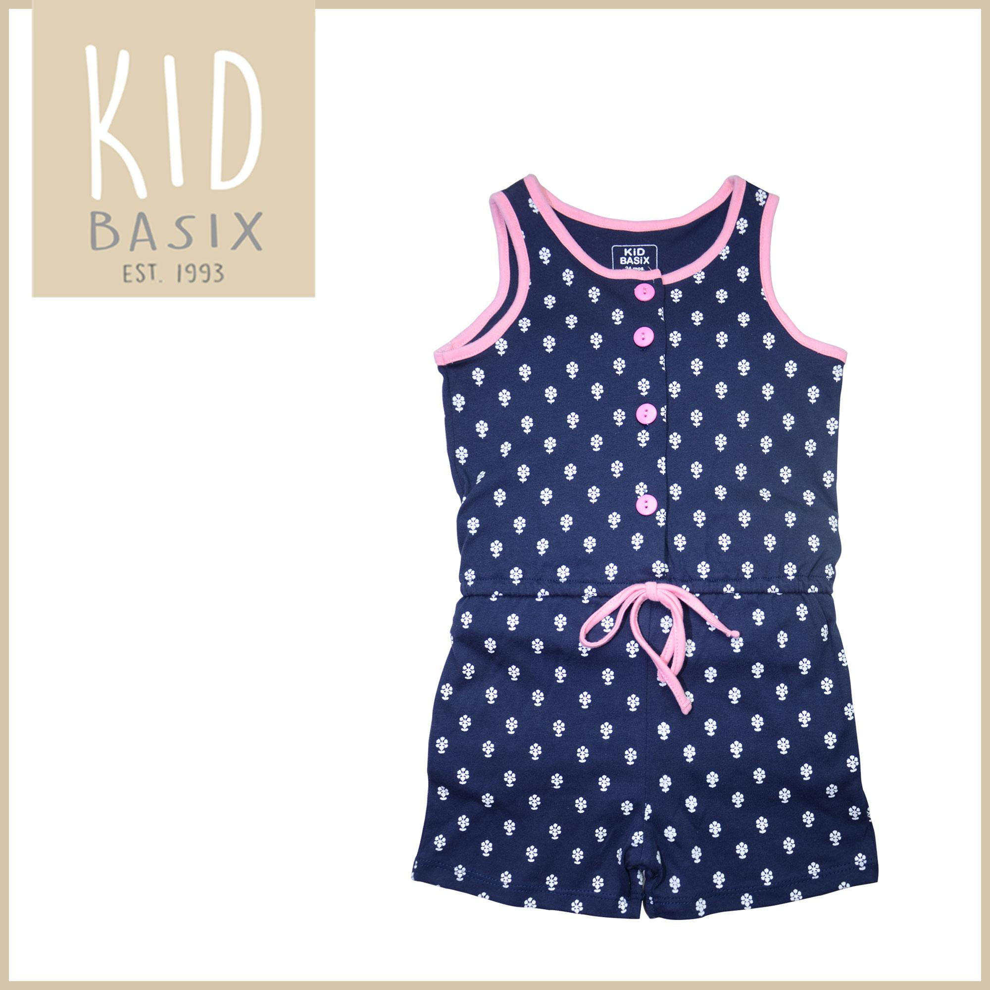 2e0815277 Kid Basix Kids Clothes for Girls Fashion Jumpsuit Romper Navy / Pink with  Printed White Flowers