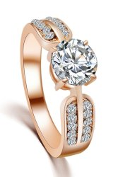 18K Gold-Plated CZ Diamond Crystal Ring (Gold) - Intl