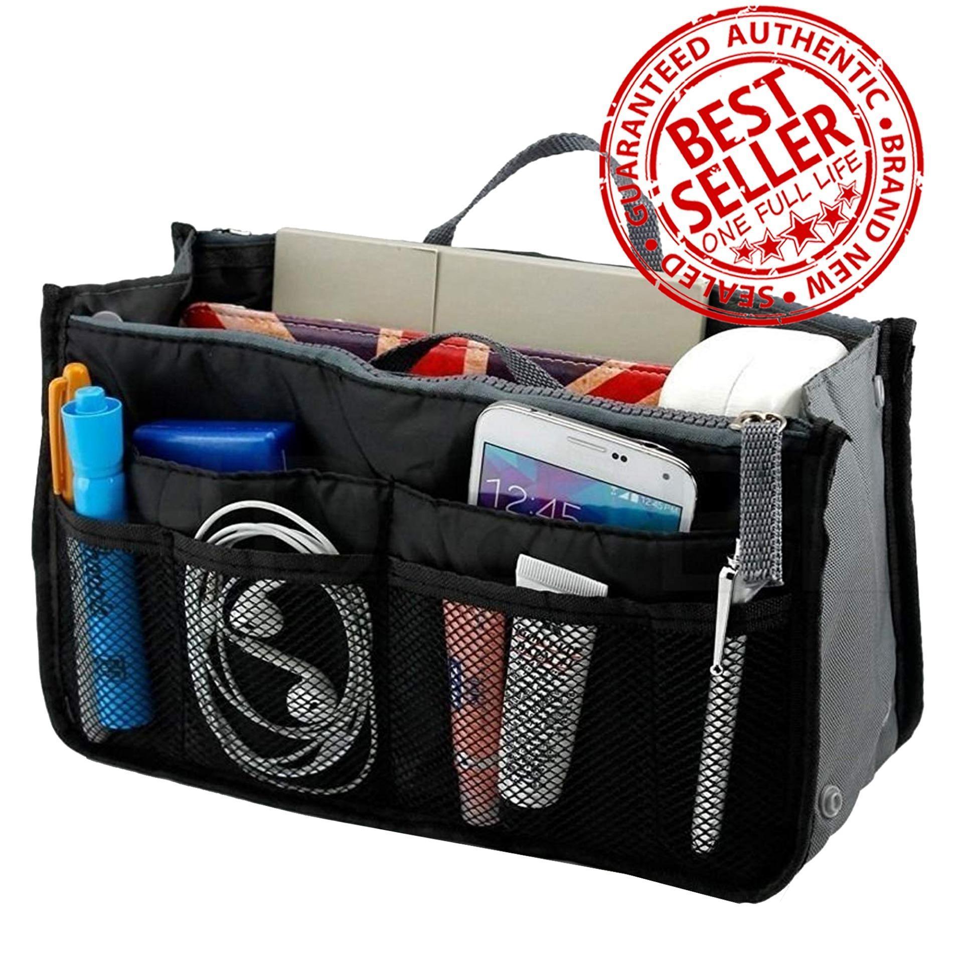 0ac6dcfd09bd Dual Bag Organizer Nylon Dual Organizer Insert Cosmetic Storage Bag