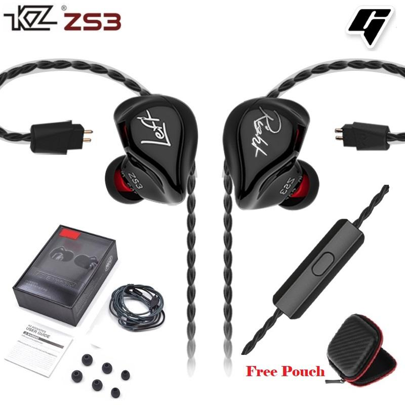 KZ ZS3 HiFi Heavy Bass Detachable Design In-ear Earphones with mic (Black)