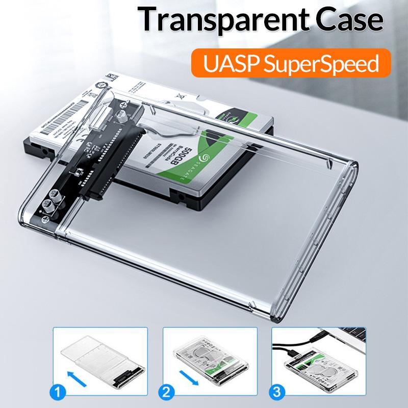 2.5 inch USB3.0 2TB Transparent Sata 5Gbps HDD SSD Case Box Hard Drive Enclosure