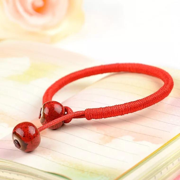 Line String Chinese Style Red Braided Hand Rope Cord Lucky Red Line Red String Luck Bracelet image on snachetto.com