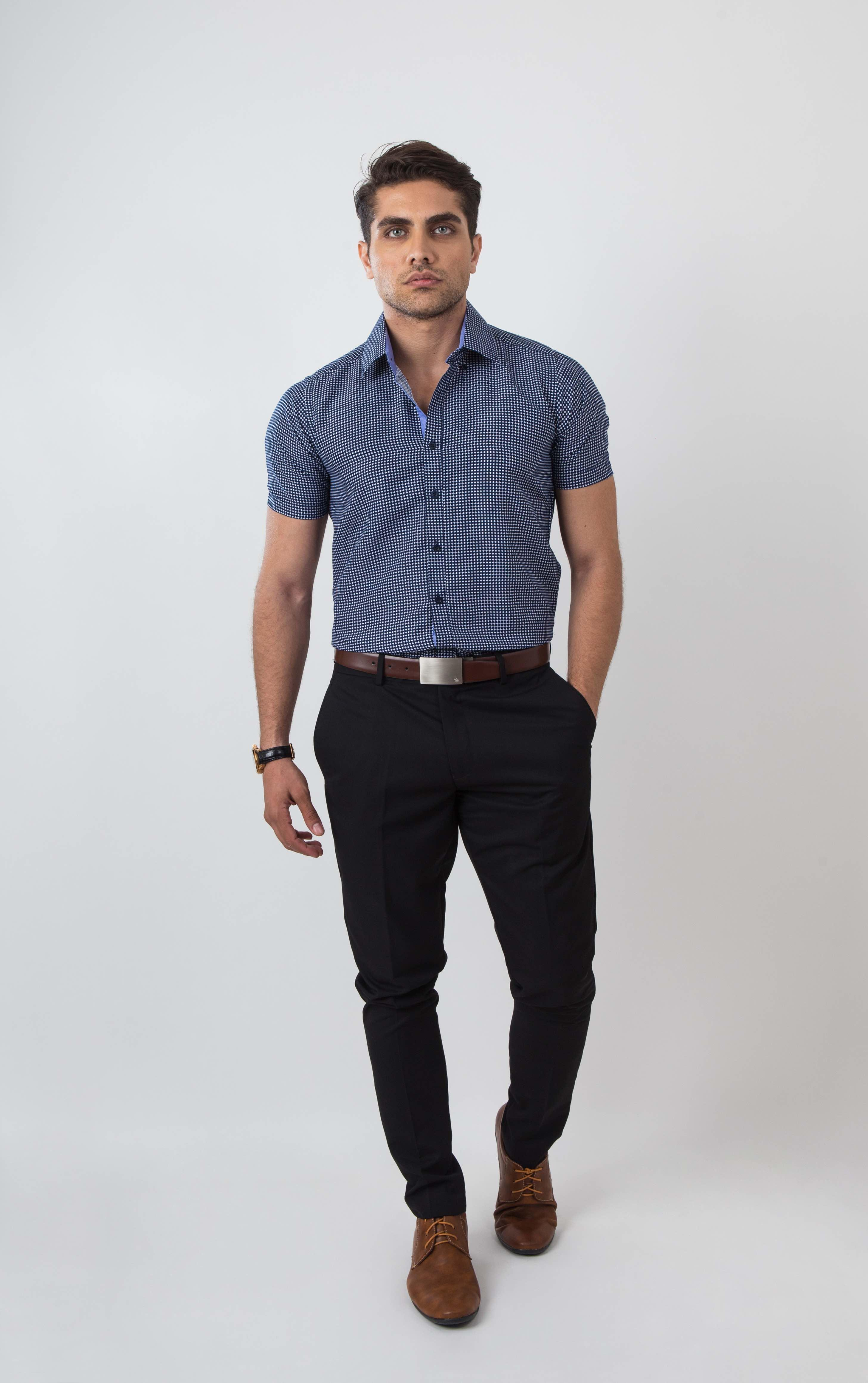 01c9d24a4c4 PROFILE by IDENTITY Mens Printed Button Down Smart Casual Woven Short Sleeve  Shirt - K851