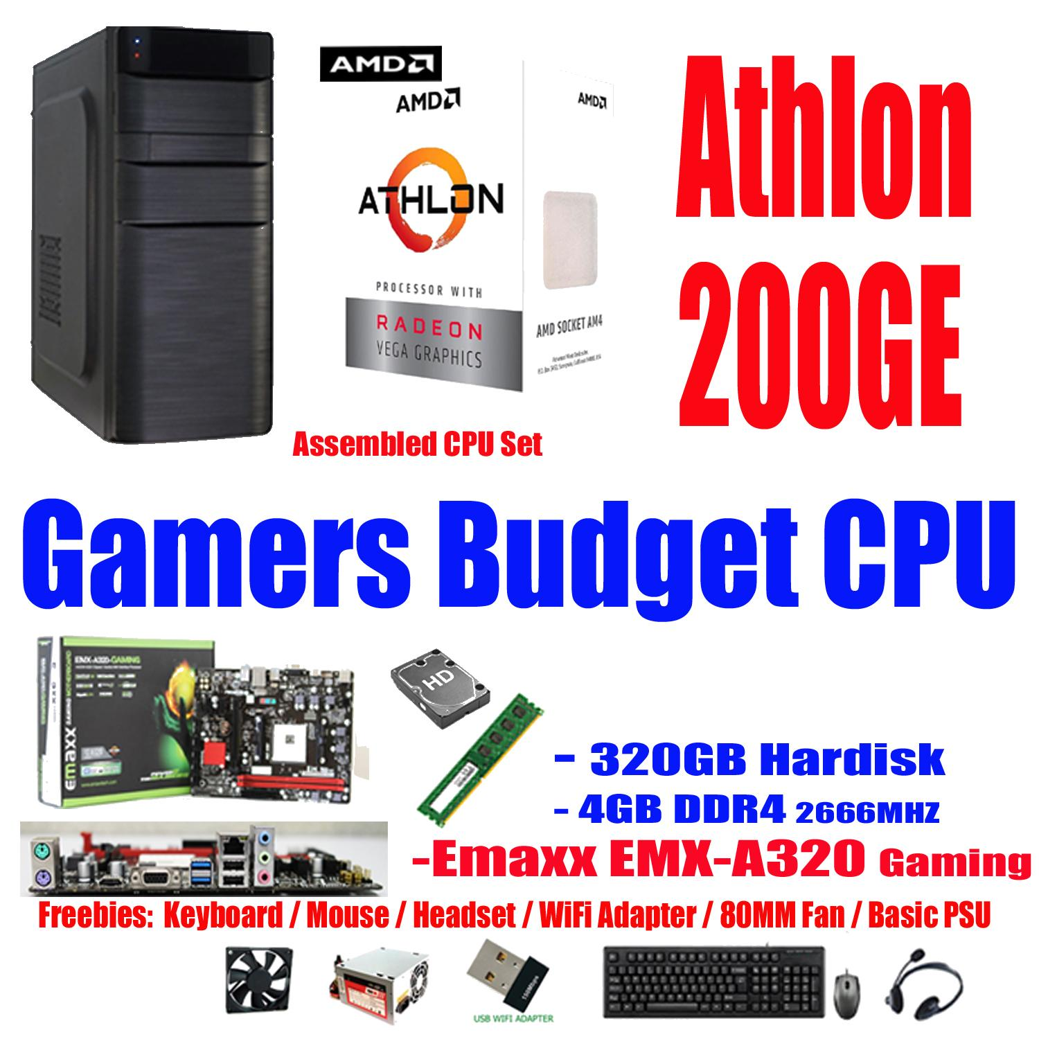 Emaxx CPU 320GB - 4GB , AMD Athlon 200GE 2-Core, 4-Thread, 3.2GHz 35W. (Alternative to: Intel Core i3-8100 i3-7100 Pentium G4560 G4600 G5400 Celeron G4930 AMD Kaveri a8-7650k a6-7400k richland a4-6300 Bristol Ridge A8-9600 A10-9700 A6-9500 )