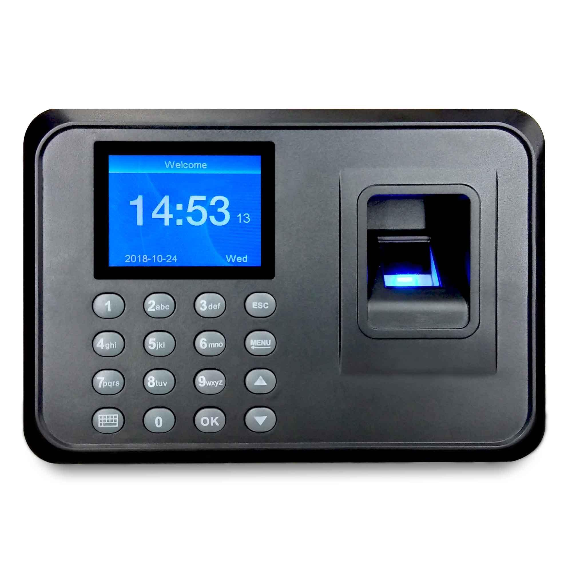 Compact Electronic Biometrics Time Recorder Machine Biometric Fingerprint Scanner Helps for Payroll Processing, Biometric Attendance, Bundy Clock