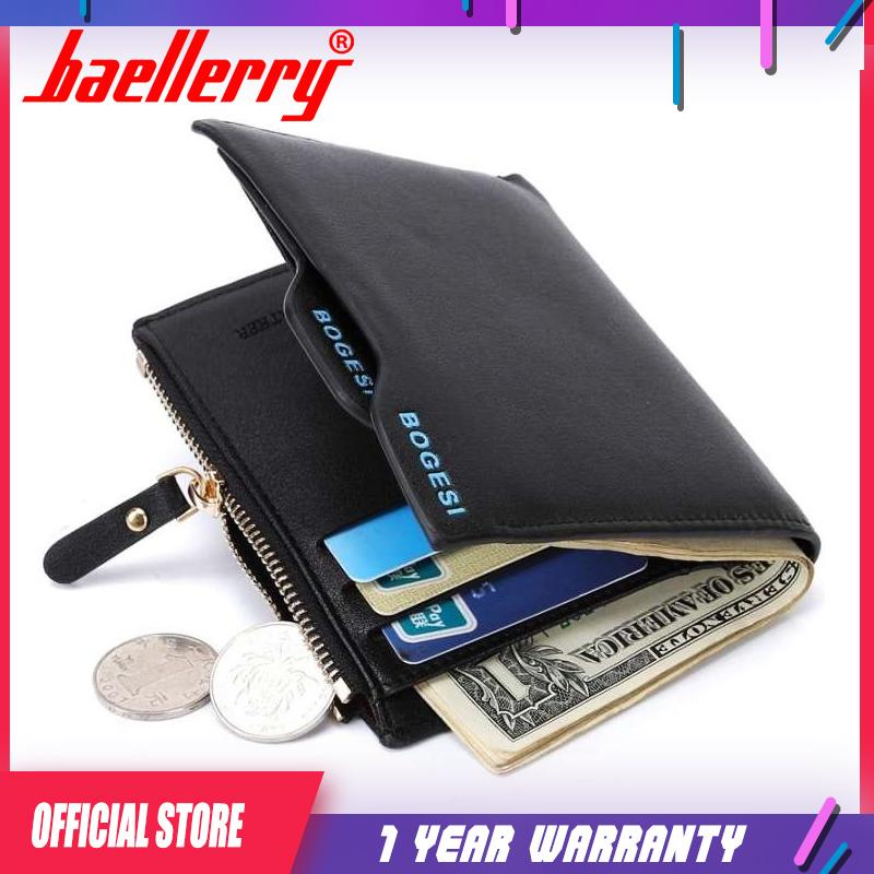 1aba1cc556 Bogesi Men Short Leather Solid Wallets Male Black Money Purses Zipper Purse  for Coin Portable Pocket