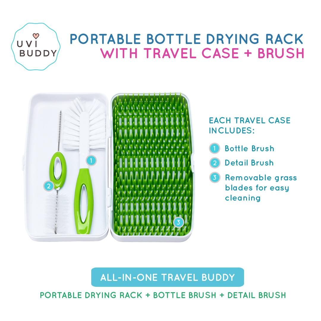 UVi Buddy Portable Bottle Drying Rack (with Travel Case and Bottle Brush)