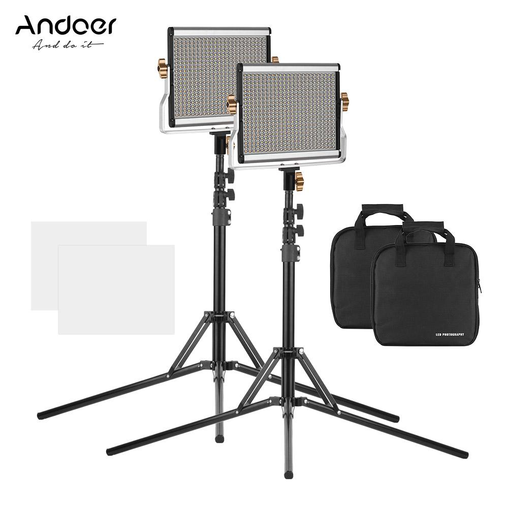 Andoer Portable L-ED Video Light Panel Kit Fill-in Lamp CRI95+ Adjustable Brightness 3200-5600K Color Temperature with Light Stand Holder Bracket for Studio Photography Video EU Plug