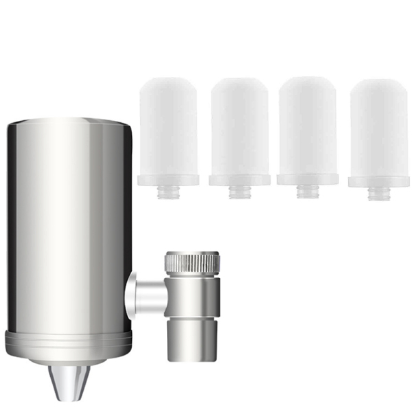 Giá Stainless Steel Filter Faucet, Water Purifier with Filter elements, Improve Hard Water (Including 4x Filters)