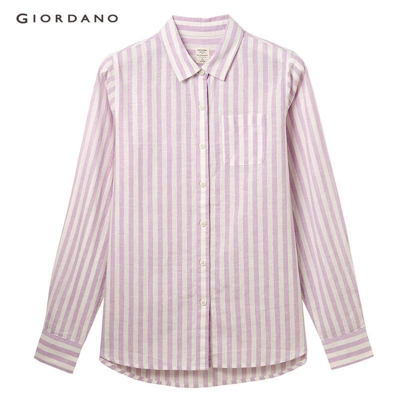 a23e67a498f55f Giordano Women Shirt Linen Cotton Casual Shirts For Women Classic Plain  Long Sleeve Women Blouse Free