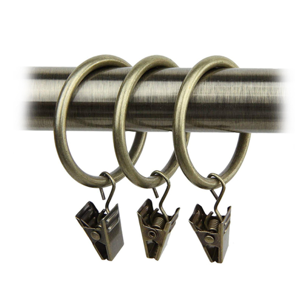 40-pack Bronze Iron Curtain Rings with Clips (1.5 inch)