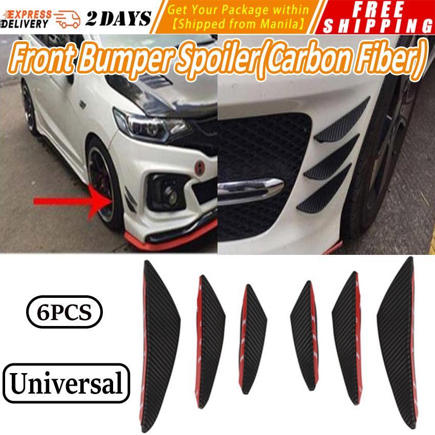 6pcs Universal Gloss Black Car Front Bumper Fin Splitter Spoiler Canard Valence