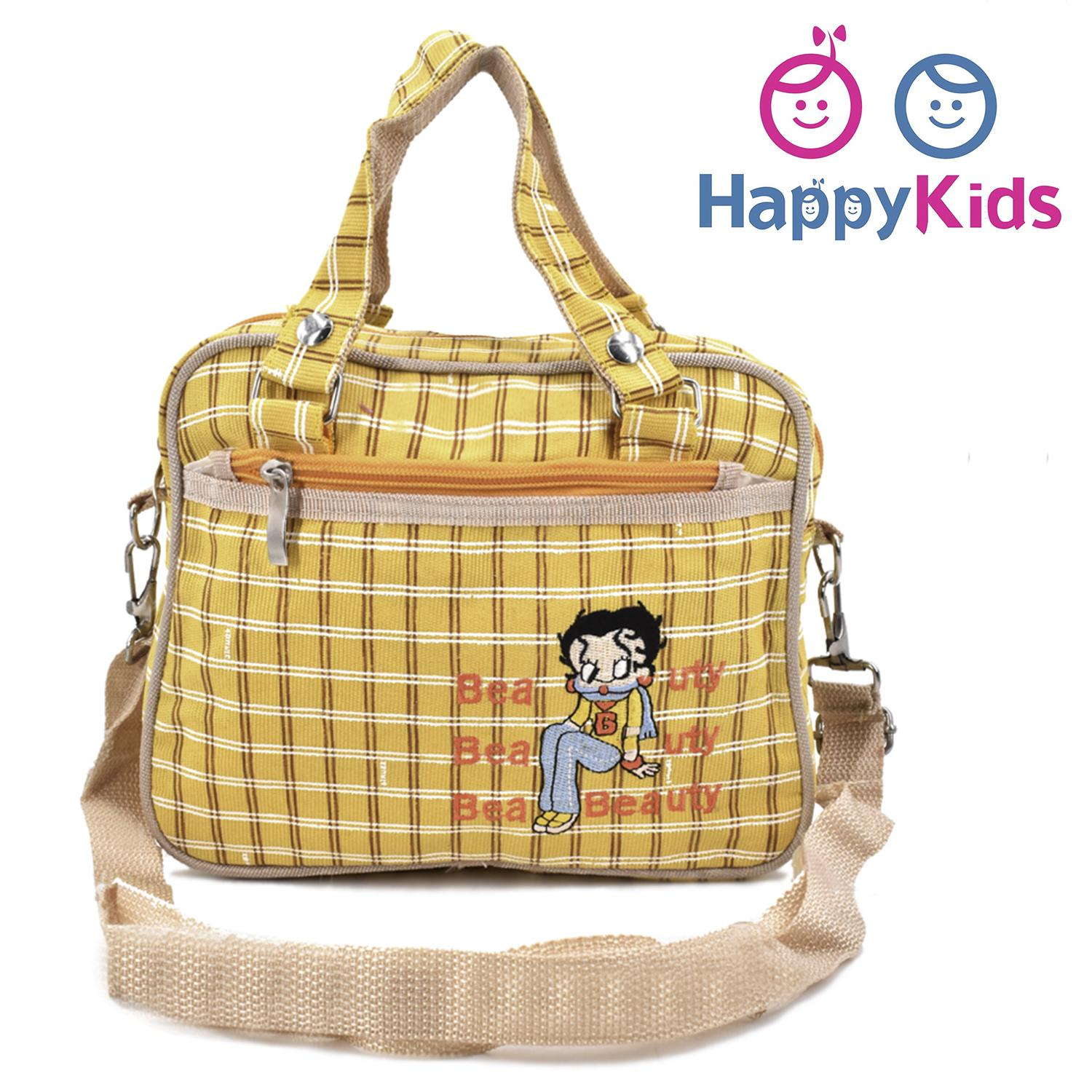 Betty Boop Yellow Checkered Kiddie Lunch Bag With Adjustable And Detachable Shoulder Strap By Happy Kids.