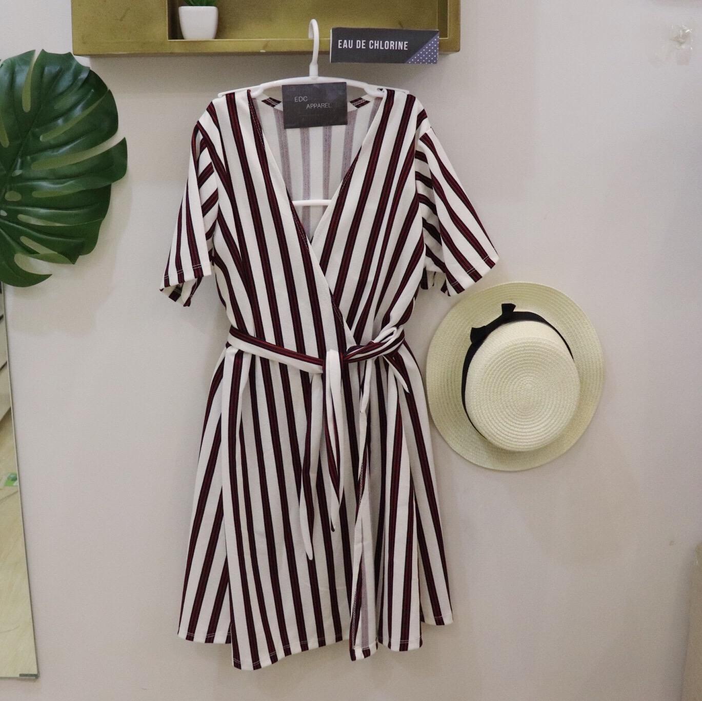 51eefa1e2efc Niki Stripes Dress Wrap Around Dress Wrap Dress Mustard Dress Blue Dress  Simple Dress Plain Dress