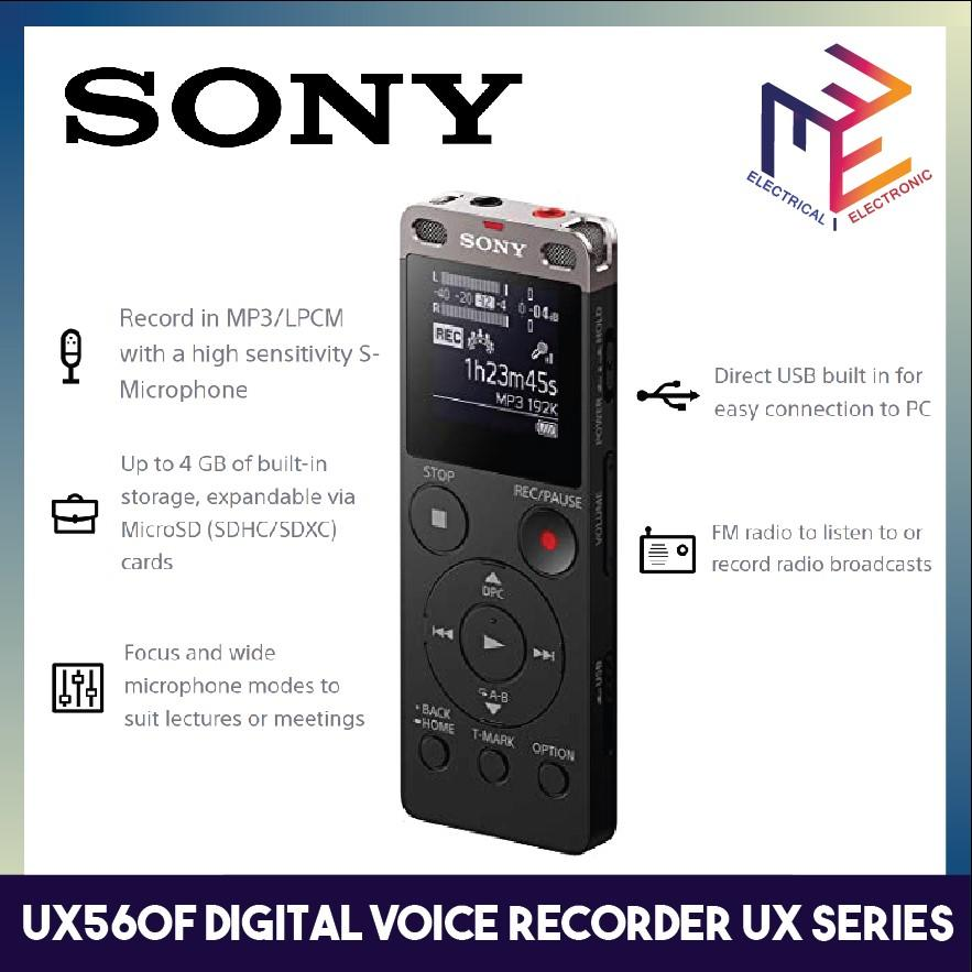 Sony Digital Voice Recorder ICD-UX560F 4GB with FM recording, OLED Screen, USB