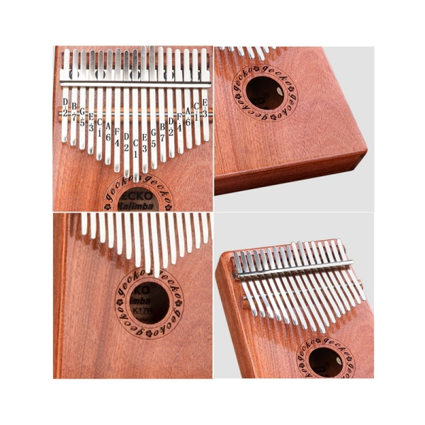 GECKO 17 Key K17R Kalimba Veneer Thumb Piano Finger Percussion Music Instruments for Kids Adult Gift
