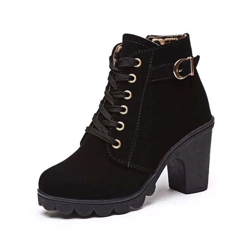 Korean Fashion Leather Round Toe Lace Up High Cut Heeled Boots For Women