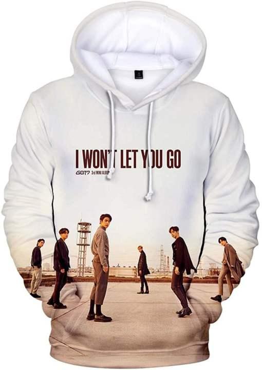 ZIGJOY Unisex GOT7 I Wont Let You Go Hoodie Sweatshirt Jumper 3D Printed Jackson JB Mark Youngjae Bambam Yugyeom