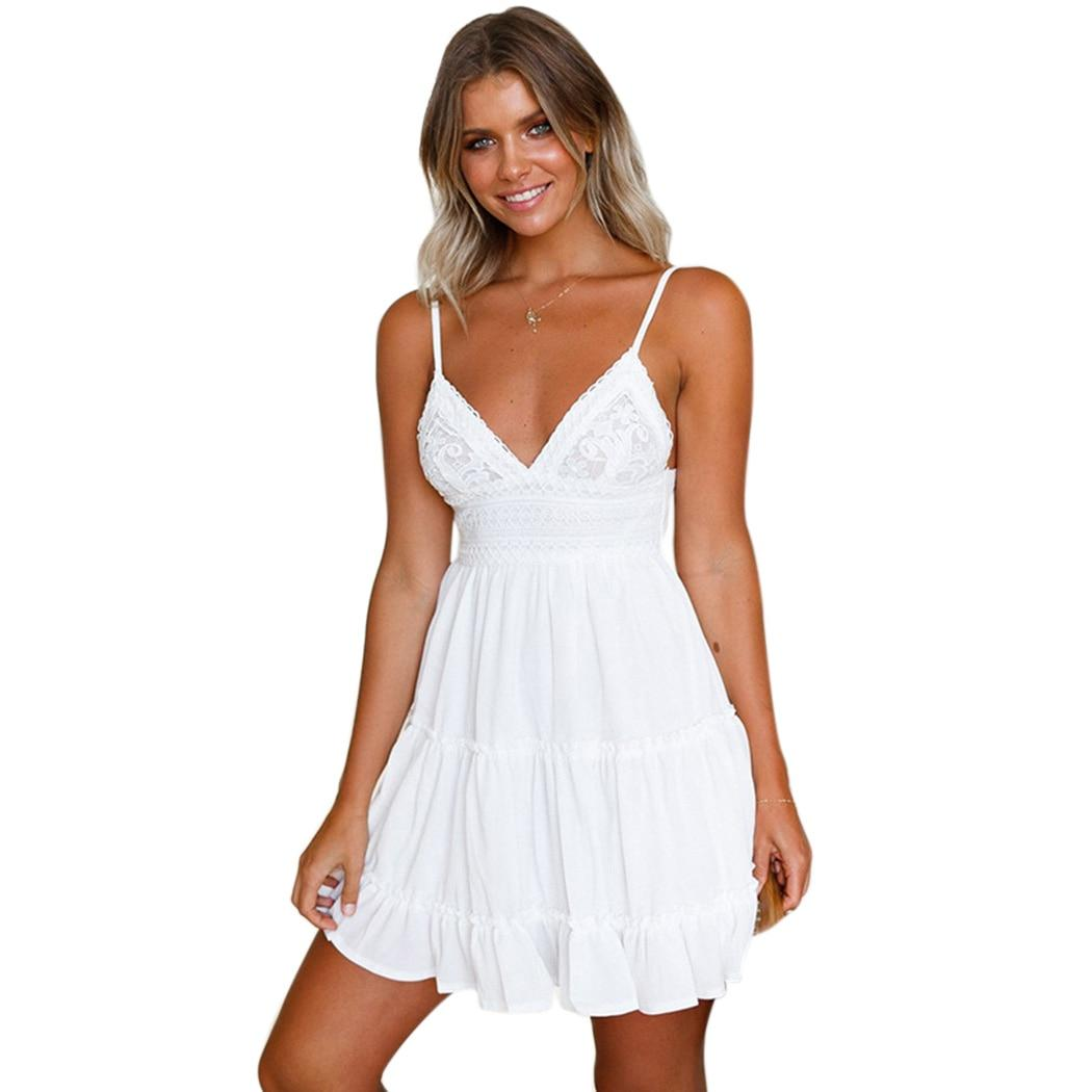 1e7c08c6a8ab6 Girls White Summer Dress Spaghetti Strap Bow Dresses Sexy Women V-neck  Sleeveless Beach Backless
