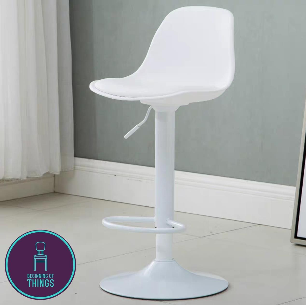 EAMES Inspired Padded Bar Stool Chair White with White Legs