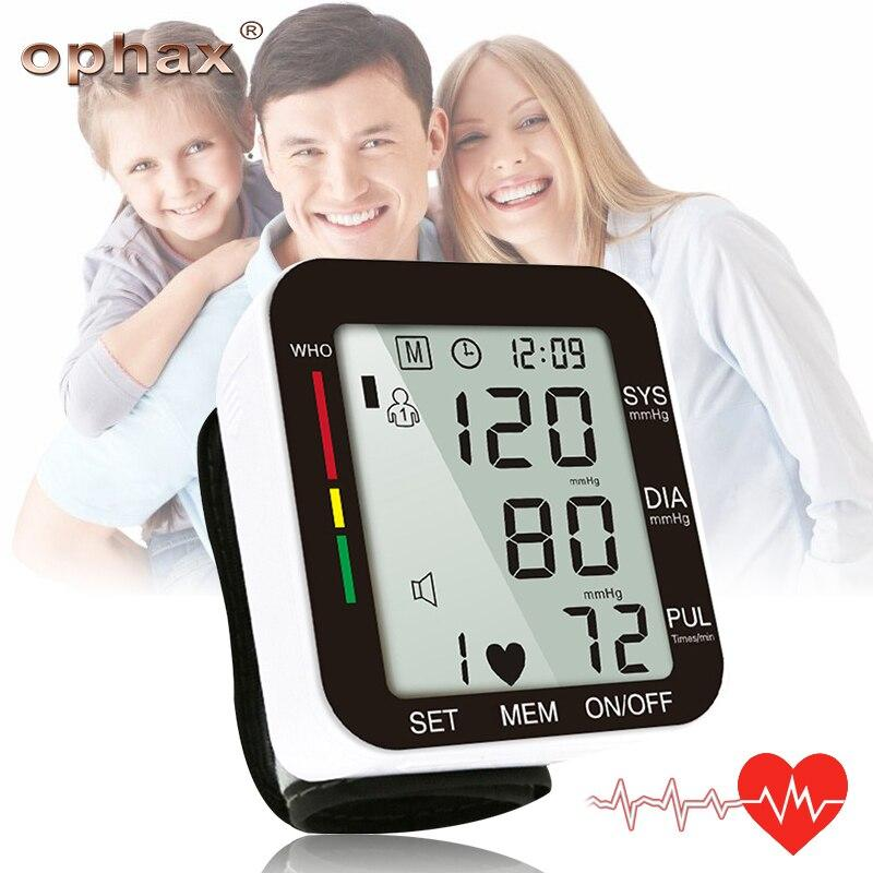 (white with voice )OPHAX Household Automatic Digital Wrist Blood Pressure Monitor Gauge Meter LCD Display Heart Beat Rate Pulse Meter Measure LLT Store