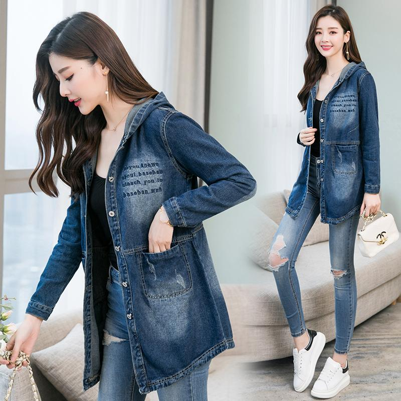 3d93912fad8 Jeans Coat women Mid-length Spring New Style Korean Style Loose Laziness  Wind BF Students
