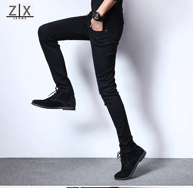 7ebfe0140bb8 Fashion Men's Business Casual Pants Slim Trousers white Black denim jeans