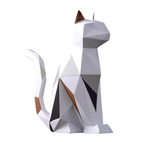 Modern Resin Cat Statue Sculpture Decoration Geometry Crafts Gift TV Cabinet Office Statue Decoration Gift
