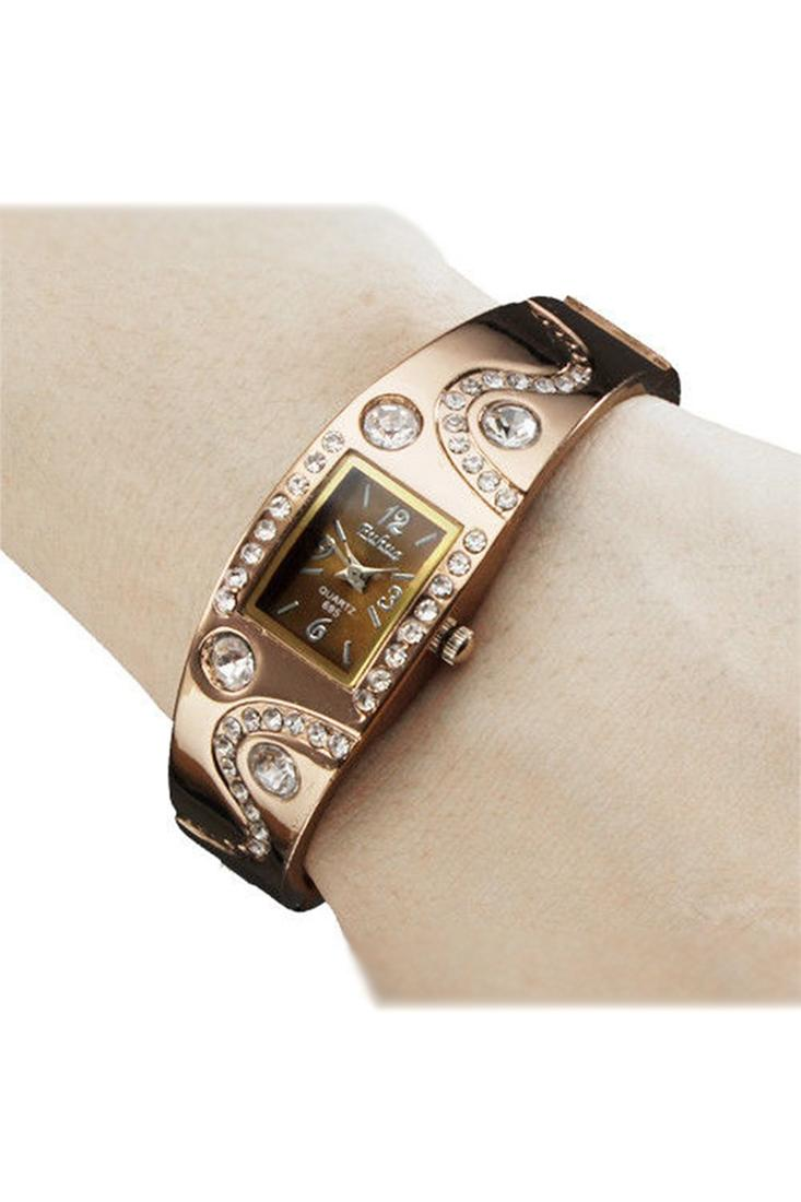 FUHUA Womens Bracelet Bangle Wave Rhinestone Crystal Wrist Watch Coffee gold Malaysia