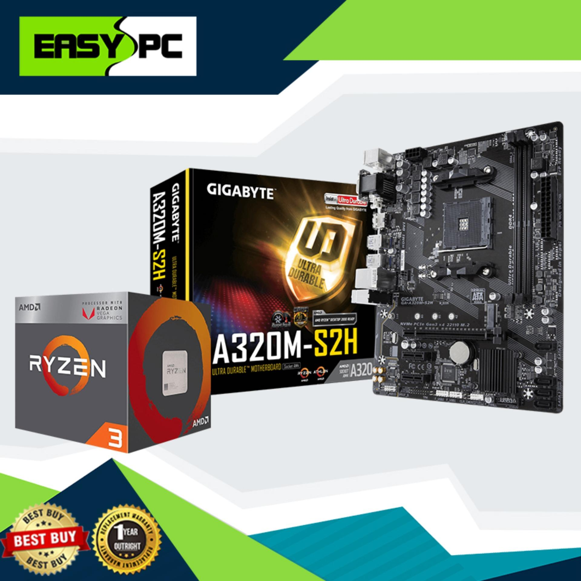 Gaming Desktop Processor and Motherboard Bundle Promo, AMD Processor Ryzen  3 2200G Socket AM4 3 5ghz, Gigabyte GA-A320M-S2H Motherboard Socket Am4,