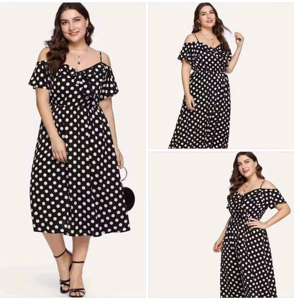 c1216a999dd Sebrina store fashion polka dot plus size dress for women spring and summer  new arrival cold