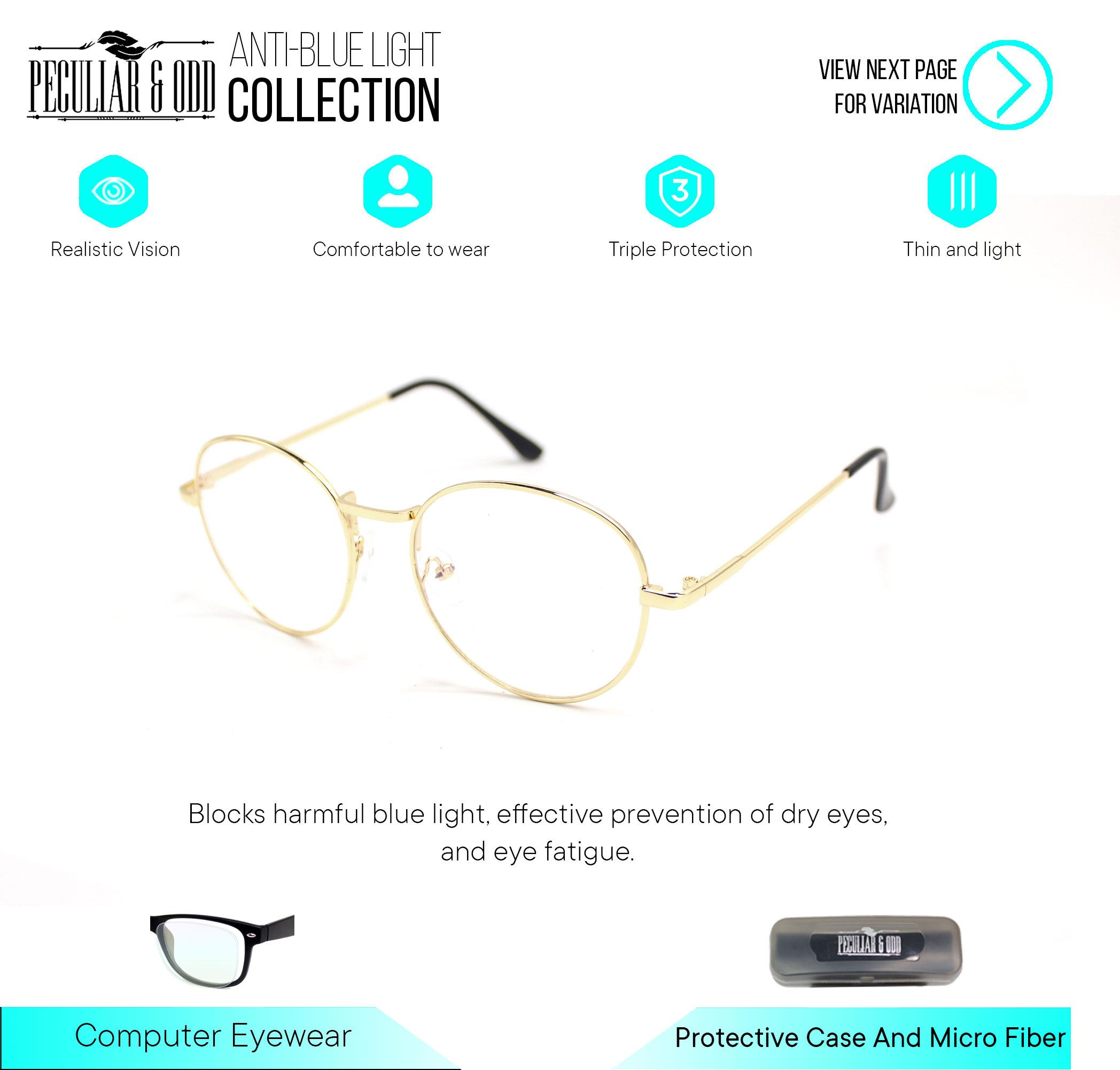 3d83447ed526 Peculiar Round 8627 Anti-Radiation Lenses in Thin Metal Frame Lightweight  Replaceable for Prescription Optical