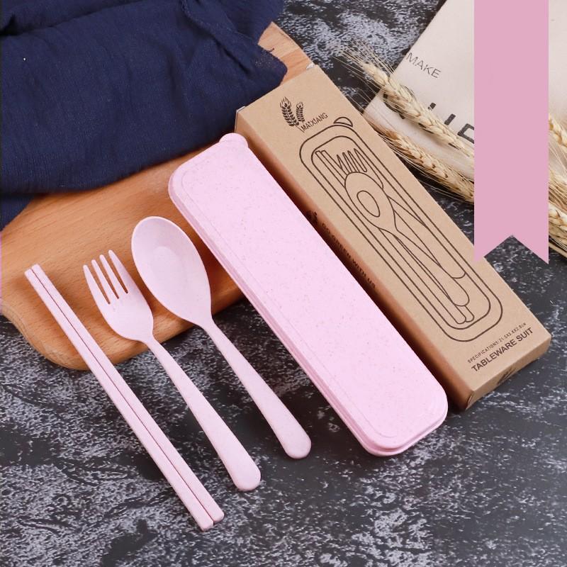 Portable Travel Tableware Storage Box Case Net Bag Cutlery Picnic Kids Adult