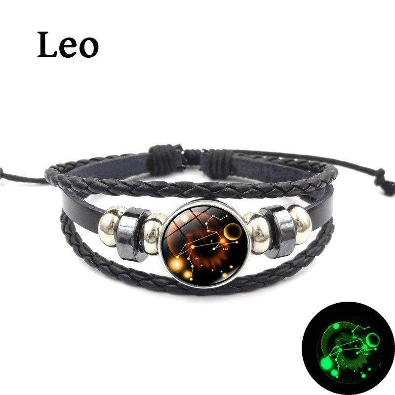 83733db1cc 2019 New 12 Constellation Luminous Bracelet Men Leather Bracelet Charm  Bracelets for Men Boys Women Girl