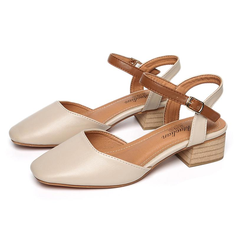 321e844af51 2019 Summer New Style Closed-toe Sandals women Semi-high Heeled Square Head  High