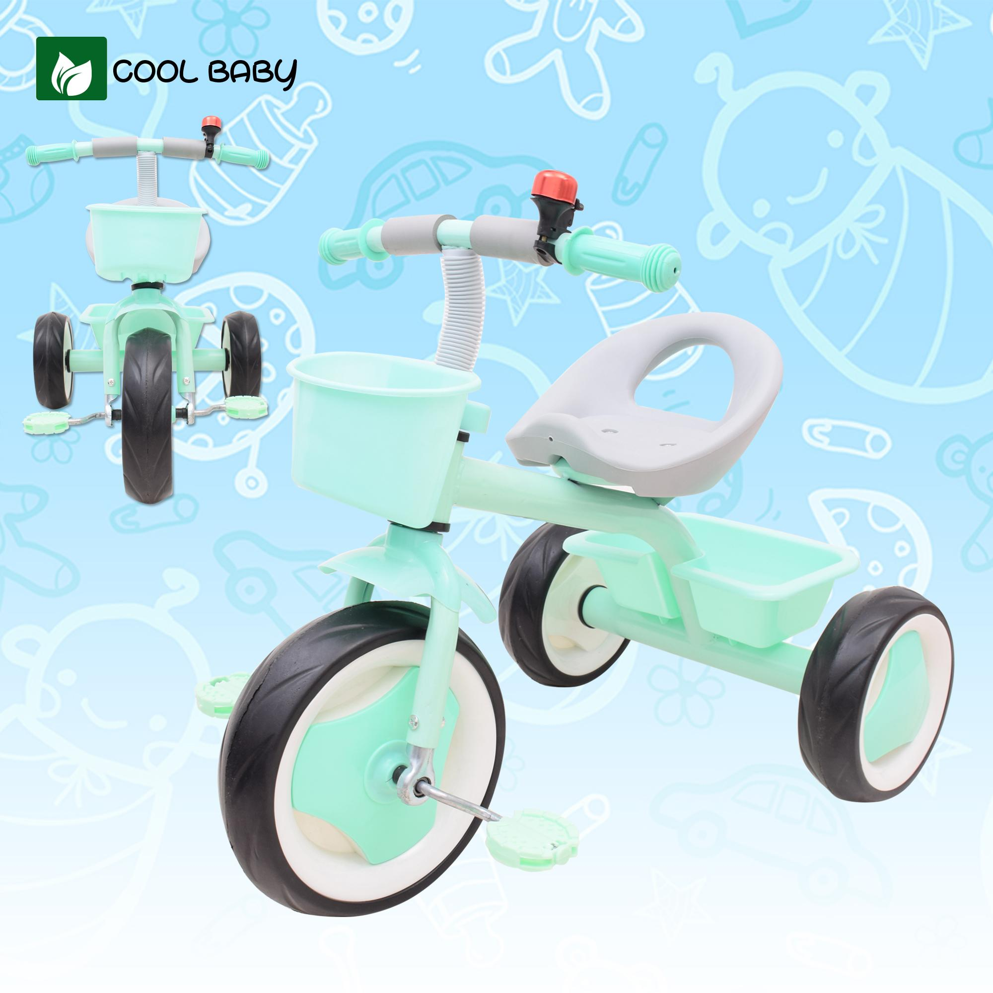 Cool Baby 637 Small Bike Kids Tricycle with Front Basket and Rear Basket  Carrier
