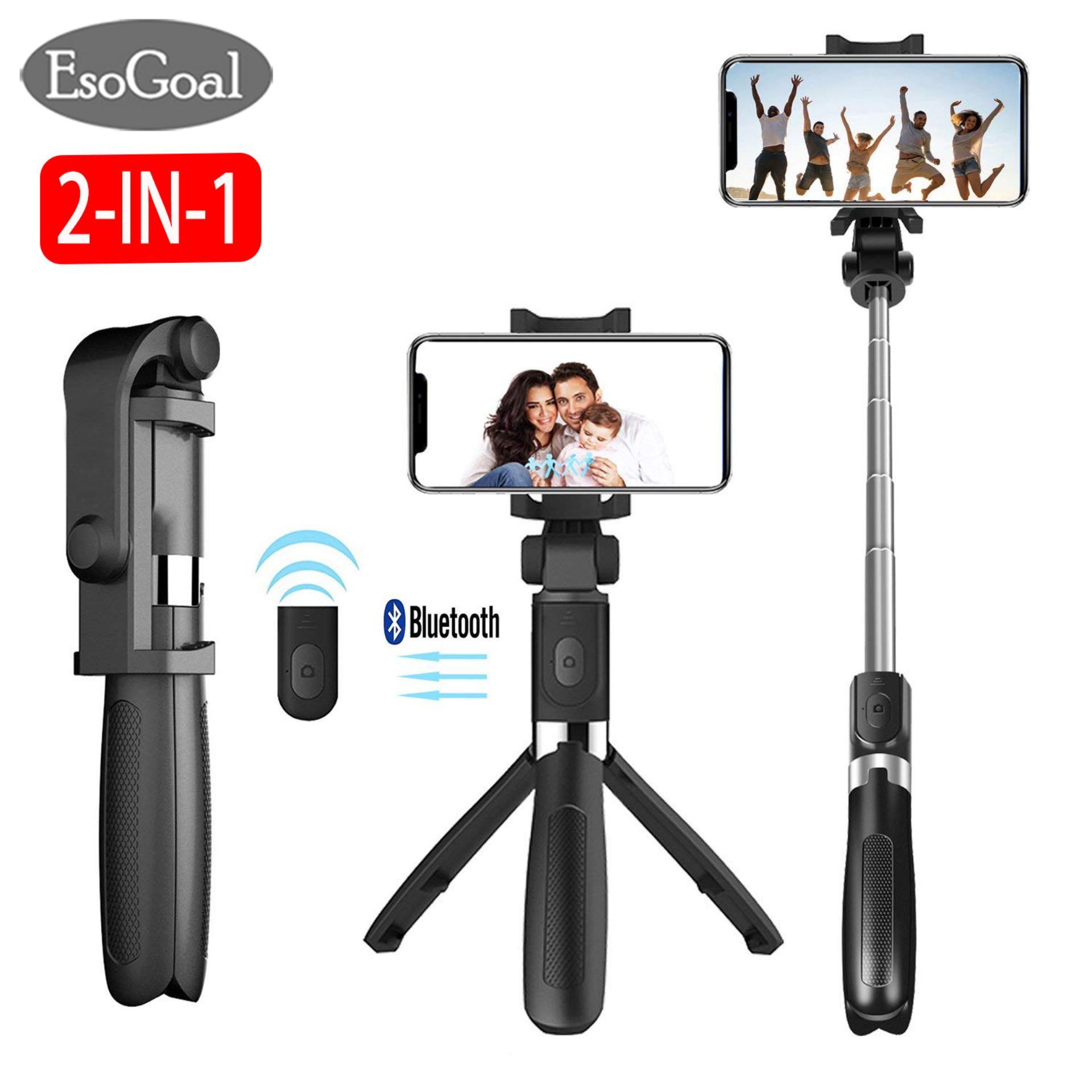 b0e318da55419b EsoGoal 2 in 1 Selfie Stick Tripod Bluetooth Selfie Stand with Remote  Shutter Foldable Tripod Monopod