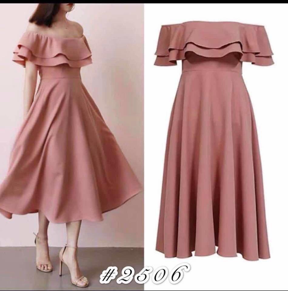 118eea9f2 angelfashion New Female Off Shoulder Ruffles Dresses Elegant peach dress   929