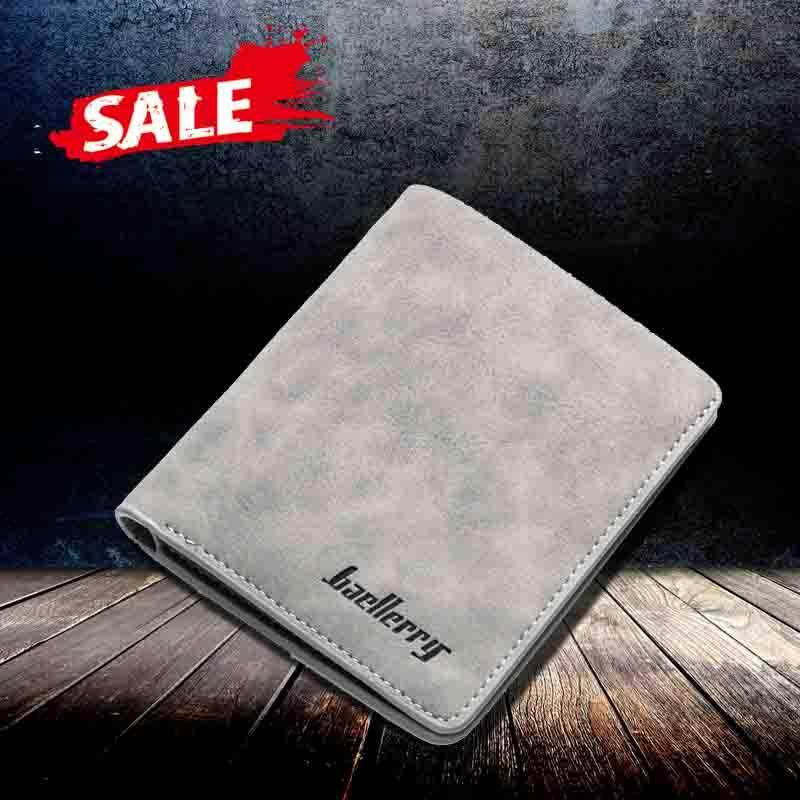 Baellerry official original nubuck leather men short credit card holder retro style wallet
