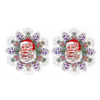 1pair of Santa Claus Wall Stickers Door Window Decor For Christmas Wall Decoration Supplies Color (Intl)