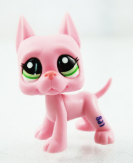 2.3'' Pink Great Dane Dog Puppy Kids Toys Green Eyes Animals Littlest Pet Shop
