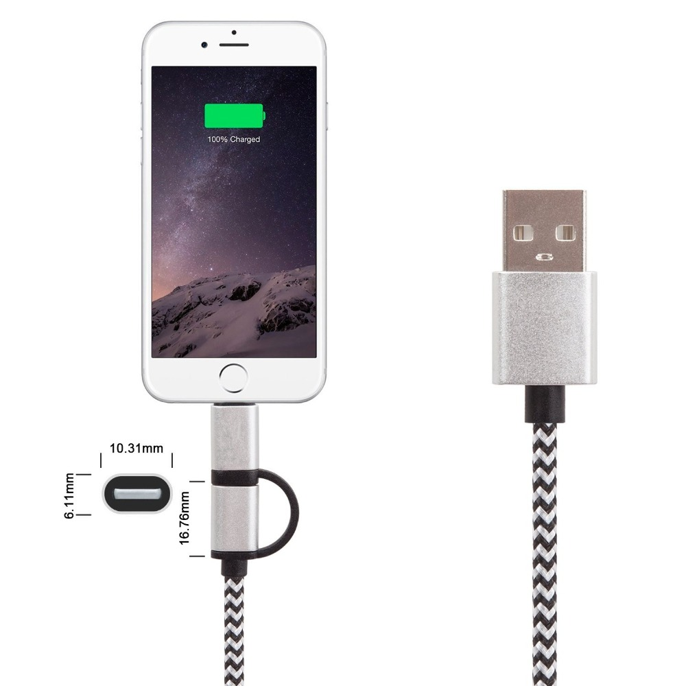 2 in 1 Fast charging Micro Usb Cable For Android & For Phone Data Charging Braided Charger Nylon Cord - thumbnail