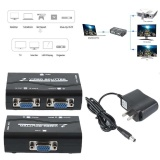1 PC to 2 Monitor 2 Port VGA Video LCD Splitter Box Adapter w// Power Cable