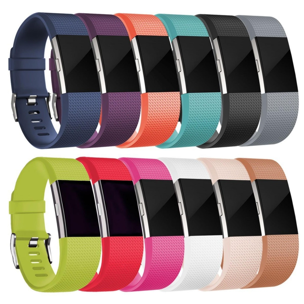 10 pcs Soft Silicone Replacement Adjustable Sport Strap for Fitbit Charge 2 HR Heart Rate +
